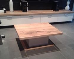 Briey - Menica Menuiserie - Meuble et table basse laqués blanc avec plateau en chêne craquelé