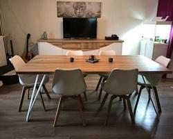 Sancy - Menica Menuiserie - Ensemble salle à manger en bois chêne craquelé et laqué blanc