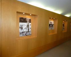 Menica Menuiserie - mur en bois perforé recevant des tableaux