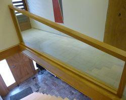 Garde-corps d'escalier bois et verre